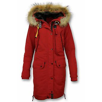 Ladies Winter Coat – Parka with fur collar – red