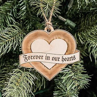 Ornament - forever in our hearts - raw wood 3x3in