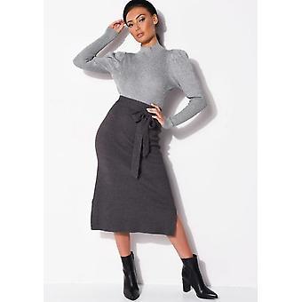 Tie Waist Knit Split Side Midi Skirt Charcoal Grey