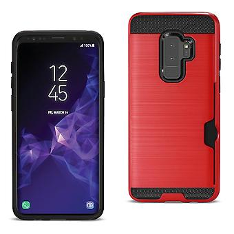 Reiko Samsung Galaxy S9 Plus Slim Armor Hybrid Case With Card Holder In Red