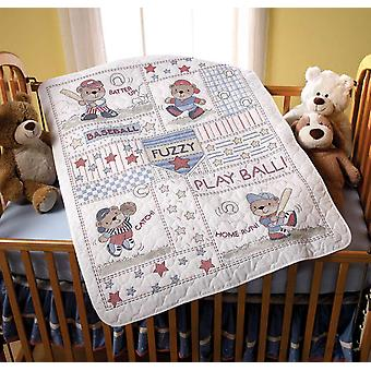 Baseball Buddies Crib Cover Stamped Cross Stitch Kit 34