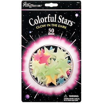 Glow In The Dark Pack Colorful Stars 50 Pkg Glow 19473