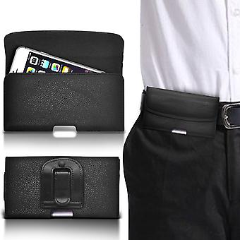 (Black horizontal belt) Case For Xiaomi Redmi Note 3 Pro PU Leather Belt Clip Pouch Holster Cover By i-Tronixs