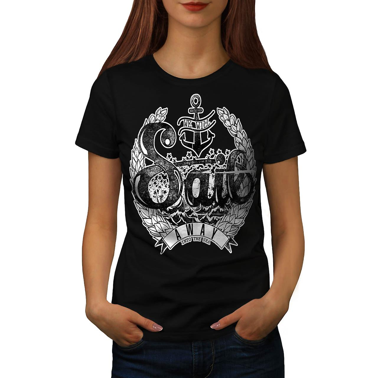 Sail Away in zee Boot Cruise vrouwen zwart T-shirt | Wellcoda