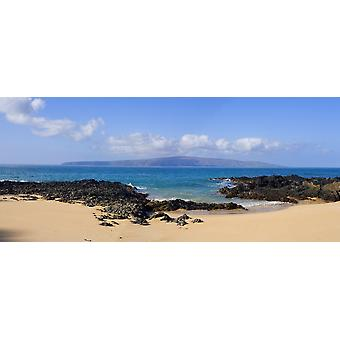 USA Hawaii Wai Beach with Kahoolawe in background Maui PosterPrint