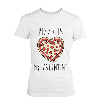Unisex Pizza Is My Valentine Funny Graphic Tee- White Cotton T-Shirt