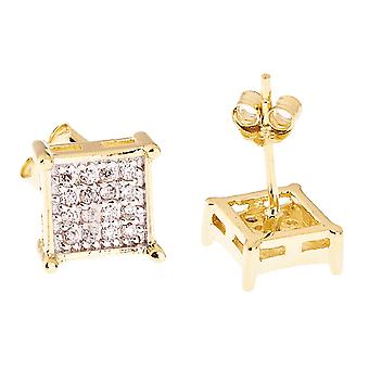 925 Sterling MICRO PAVE Ohrstecker - SQUARE 8mm gold