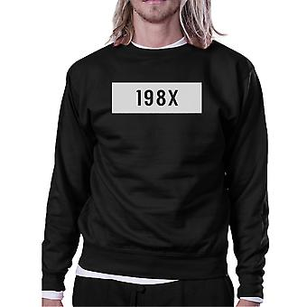 198X Black Sweatshirt Simple Design Cute Gift Ideas For Born In 80s