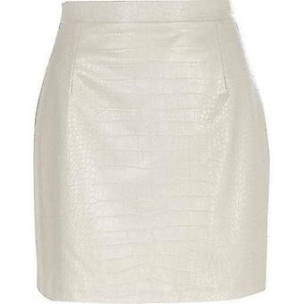 Mock Croc Leather Look Mini Skirt