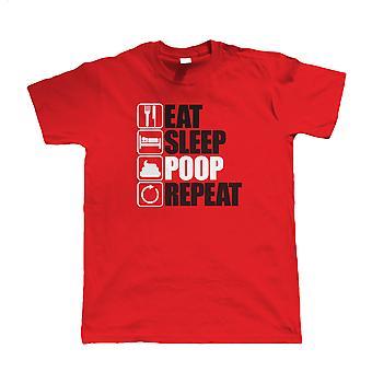 Essen Sie schlafen Poop wiederholen, Mens lustige T Shirt