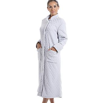 Camille Light Grey Soft Fleece Floral Full Length Button Up Housecoat
