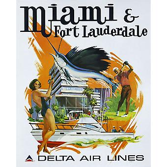 Delta Air Lines Miami And Fort Lauderdale Poster Print Giclee