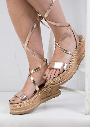 450b1001d21b Lace Up Braided Cork Wedge Flat Espadrille Sandals Rose Gold