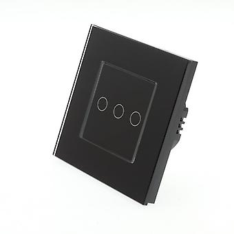 I LumoS Black Glass Frame 3 Gang 1 Way WIFI/4G Remote Touch LED Light Switch Black Insert