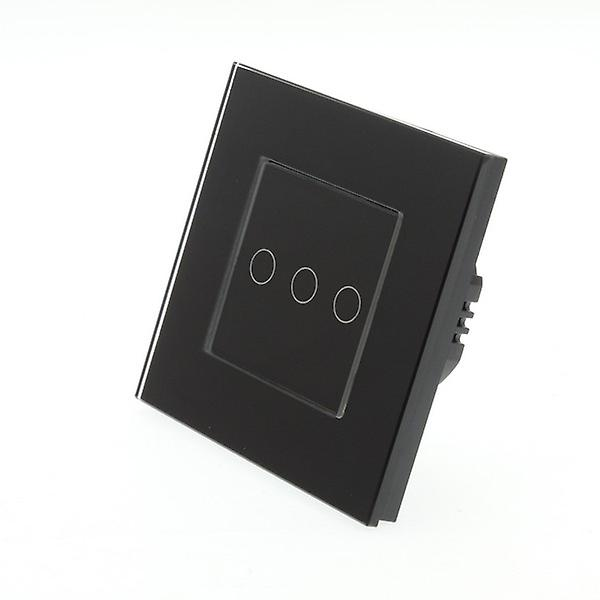 I LumoS noir Glass Frame 3 Gang 1 Way Remote Touch LED Light Switch noir Insert