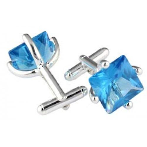 Mousie Bean Square Crystal Cufflinks - Blue