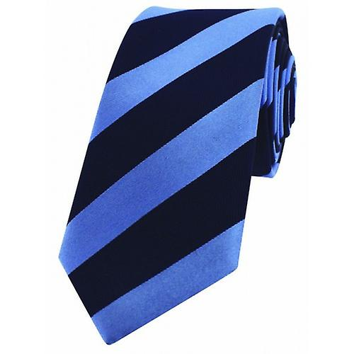 David Van Hagen Skinny Striped Tie - Light Blue/Black