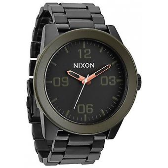 Nixon The Corporal SS Watch - Matte Black/Industrial Green