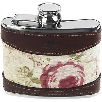 Oeste de Orton 4oz rosa cautiva superior Hip Flask - marrón/crema/color de rosa