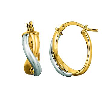 14K Yellow And White Gold Oval Shape Double Row Twisted Hoop Earrings