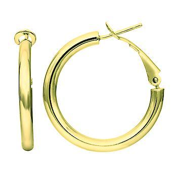 14K Gold Omega zurück Hoop Ohrringe, Durchmesser 25mm