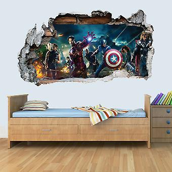GNG Marvel Avengers Vinyl Smashed Wall Art Decal Stickers Bedroom Boys Girls 3D