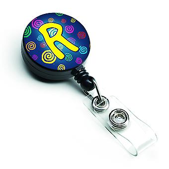 Letter R Initial Monogram - Blue Swirls Retractable Badge Reel