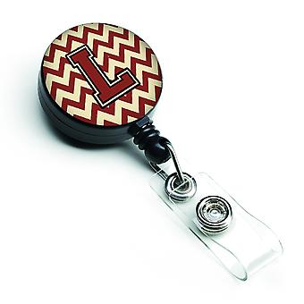 Letter L Chevron Maroon and Gold Retractable Badge Reel