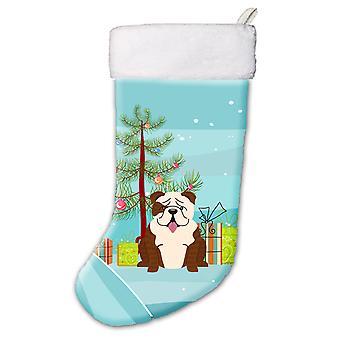 メリー クリスマス ツリー英語ブルドッグ ブリンドル ホワイト クリスマス ストッキング