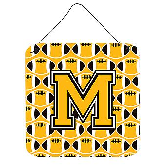 Letter M Football Black, Old Gold and White Wall or Door Hanging Prints