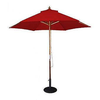 BrackenStyle Wooden Pulley 2.5m Red Parasol
