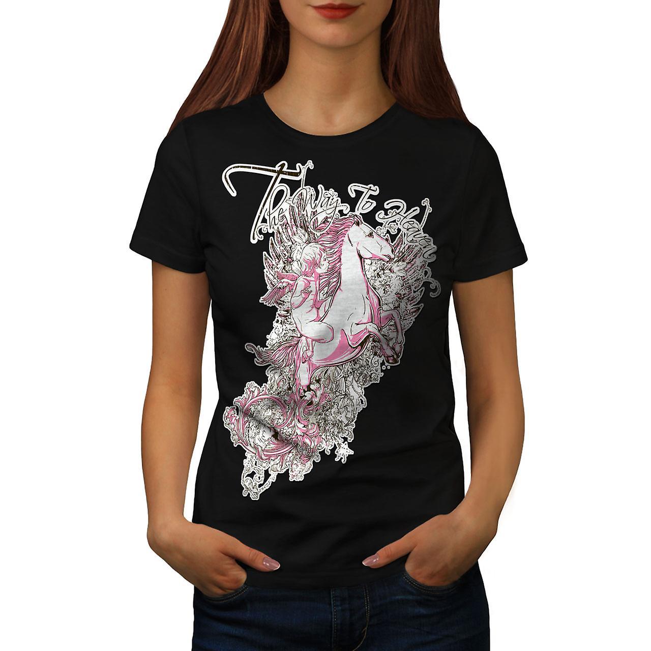Way To Heaven Fantasy Women Black T-shirt | Wellcoda