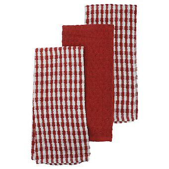 Thin Check Pattern Tea Towel Set (Pack Of 3)