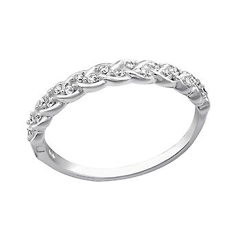 Braided - 925 Sterling Silver Cubic Zirconia Rings - W29248x