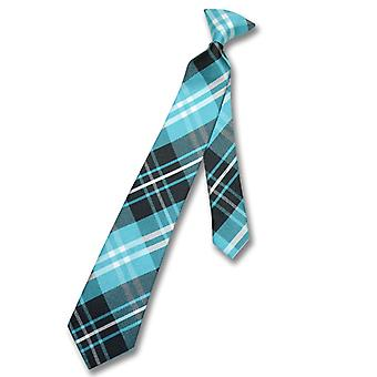 Vesuvio Napoli Boy's CLIP-ON NeckTie PLAID Youth Neck Tie