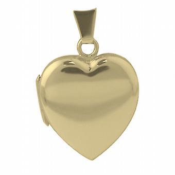 9ct Золотой медальон в форме 21x19mm равнина сердца