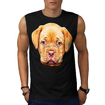 Kalverliefde schattige hond mannen BlackSleeveless T-shirt | Wellcoda