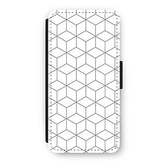 iPhone 8 Flip Case - Cubes black and white