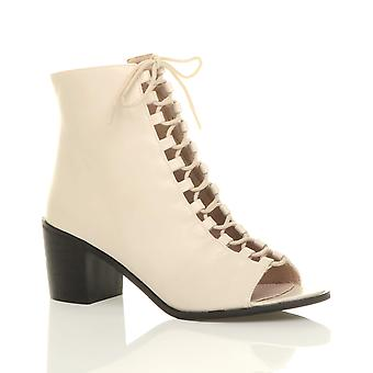 Ajvani damskie bloku połowy niski obcas sznurowane ghillie zip peep toe zip kostkę buty buty
