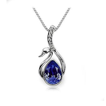 Womens Crystal Dark Blue Stone Swan Necklace Pendant Silver Plated BG1670