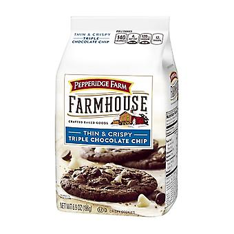 Pepperidge Farm Farmhouse tynn & sprø trippel Chocolate Chip Cookies 2 Bag Pack