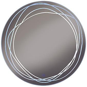 Swirl - Led Illuminated 70cm Diameter Circular Wall Mirror With Demister And Dimmer