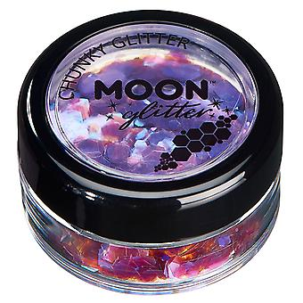 Iridescent Chunky Glitter by Moon Glitter – 100% Cosmetic Glitter for Face, Body, Nails, Hair and Lips - 3g - Purple