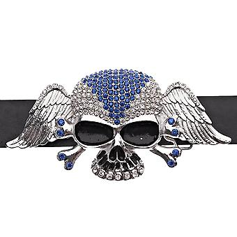 Iced out bling hip hop skull wings XXL blue belt - silver