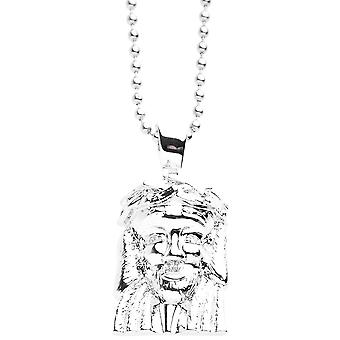 Iced Out Bling Micro Pave Kette - MINI JESUS III silber