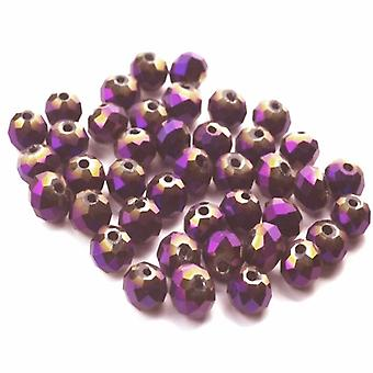 Strand 70+ Purple/Metallic Czech Crystal Glass 6mm Faceted Round Beads GC3563-2