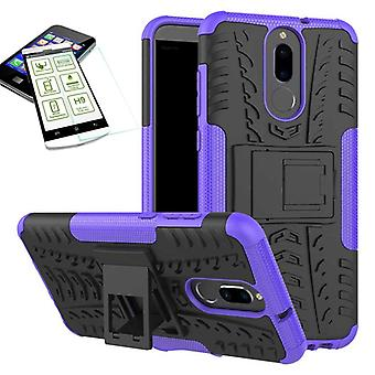 Hybrid case of 2 piece purple for Huawei mate 10 Lite + tempered glass bag case cover