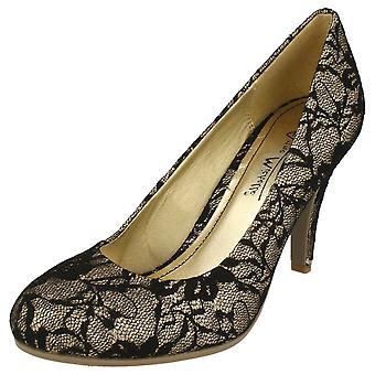 504fc88e1 Ladies Anne Michelle Lace Effect Party Shoes