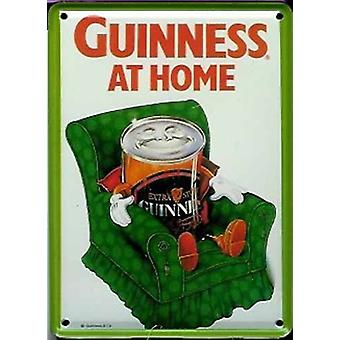 Guinness At Home (Can On Armchair) Metal Postcard/ Mini Sign