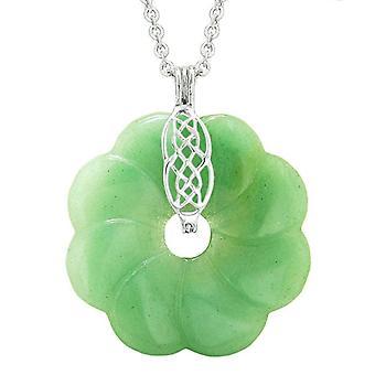 Large Celtic Shield Knot Protection Power Amulet Green Quartz Lucky Flower Donut Pendant Necklace